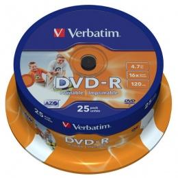 Verbatim DVD-R 4.7GB 16x Photo PRINTABLE 25/1 spindle (V043538)