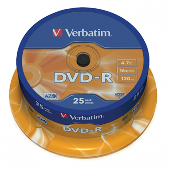 Verbatim DVD-R 4.7GB 16x Matt Silver 25/1 pack spindle (V043522)