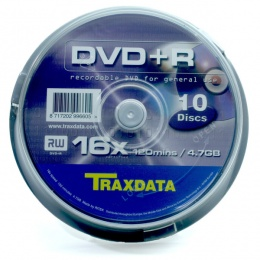 Traxdata DVD+R 10/1 spindle, 16X, 4,7GB