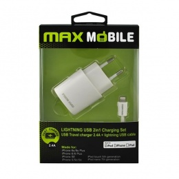 Max Mobile punjač SET 2u1 iPhone 5/6/7/8/X 2,4A