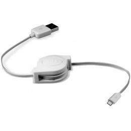Max Mobile micro USB Data kabal samouvlačni bijeli 2213