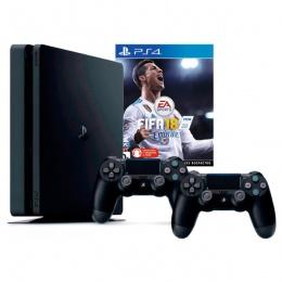 Sony PlayStation 4 Slim 500GB crni 2 dualshock + Fifa 18