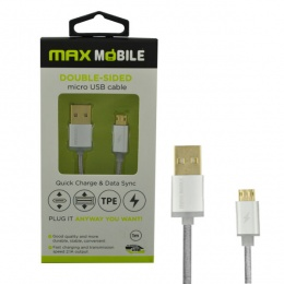 Max Mobile Data Kabal Micro USB DOUBLE SIDED 1m srebreni