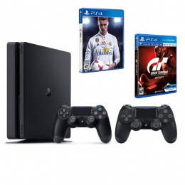 Sony PlayStation 4 Slim 500GB Black sa 2 DualShock + FIFA 18 + Gran Turismo Sport