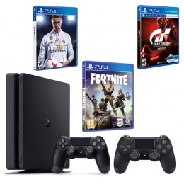 Sony PlayStation 4 Slim E chassis 500GB Black 2 DS+Fortnite RBP VCH, FIFA18, Gran Turismo Sport SE