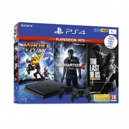 Sony PlayStation 4 1TB Slim sa dva Controlera+ Uncharted 4/The Last of Us/Ratchet&Clank Hits