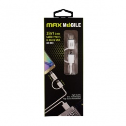 Max Mobile Data kabal USB 2.0 2u1 Type C+ Micro USB bijeli