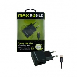 Max Mobile punjač 2u1 USB+ Type C kabal 2,1A