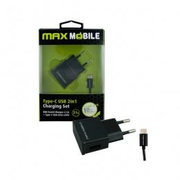 Max Mobile punjač SET 2u1 Kućni USB+ Type C kabal 2,1A