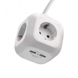 Emos produžni kabal 4x schuko, 2x USB, 1.9m P04219U