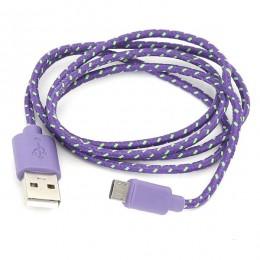 Omega kabal microUSB to USB 1m presvucen tkan. ljubičasto-zelena